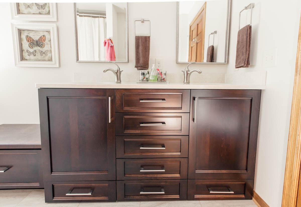 Dark Stained Maple Bathroom Vanity